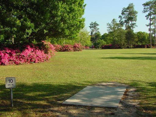 Fairway view of Hole #10 (#1) at Park Circle Disc Golf Course.