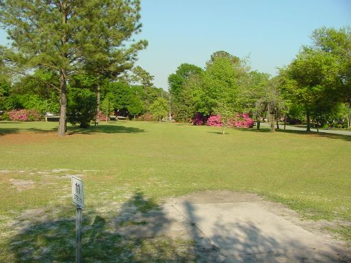 Tee box view for Hole #11 (#2) at Park Circle Disc Golf Course.
