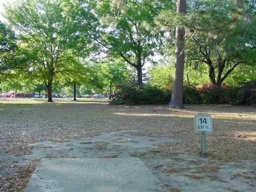 Fairway view of Hole #14 (#5) at Park Circle Disc Golf Course.