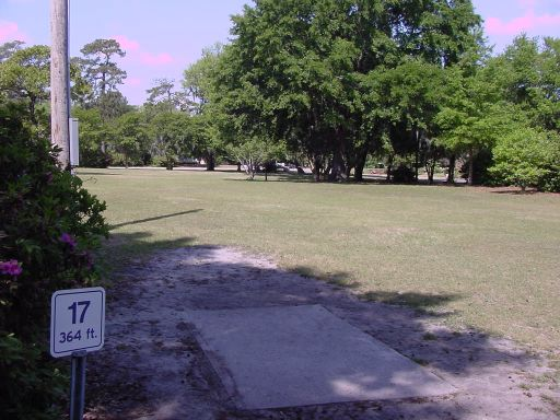 Fairway view of Hole #17 (#8) at Park Circle Disc Golf Course.