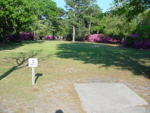 Tee box view of Hole #3 (#12) at Park Circle Disc Golf Course.