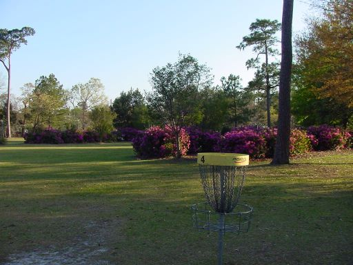 Basket view of Hole #4 (#13) at Park Circle Disc Golf Course.