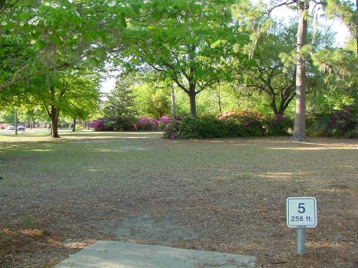 Tee box view of Hole #5 (#14) at Park Circle Disc Golf Course.