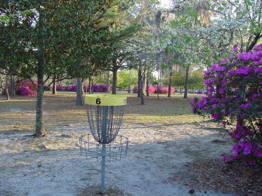 Basket view of Hole #6 (#15) at Park Circle Disc Golf Course.