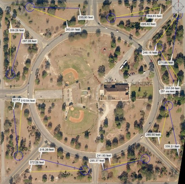 Click for large Park Circle Disc Golf Course map with distance!